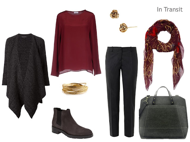Cool-weather travel outfit in grey and burgundy.