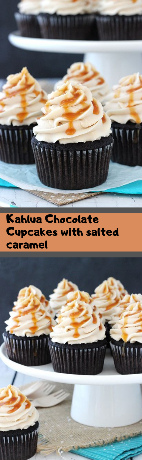 KAHLUA CHOCOLATE CUPCAKES WITH SALTED CARAMEL #cake #cupcakes