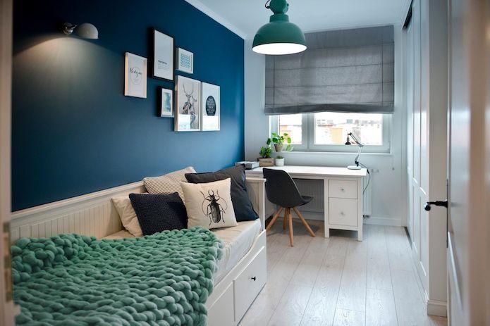 dormitorio, blanco, azul, gris y verde mint