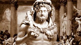 El emperador Cómodo, caracterizado como el héroe Hércules, arropado con una piel de león
