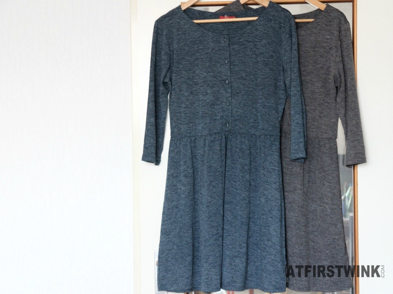 Esprit jersey stretch dress (5 buttons and 3/4 sleeves) medium grey and navy