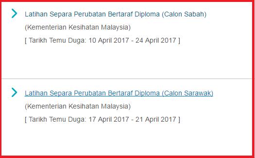 TEMUDUGA CALON LATIHAN SEPARA PERUBATAN BERTARAF DIPLOMA (Calon Sabah & Sarawak)