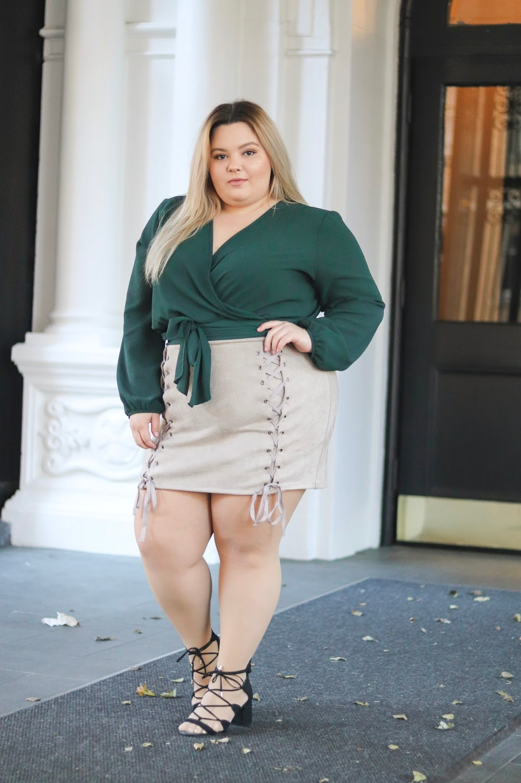 natalie in the city, natalie Craig, fashion nova curve, plus size confidence, curves and confidence, fat and confident, fashion nova, affordable plus size clothing, the school of womanly arts, the experience, Pussy: a reclamation, sexy plus size clothing, plus size lace up suede skirt, plus size wrap top, Chicago blogger, Windy City blogger, Chicago fashion, plus size fashion, plus size fashion blogger