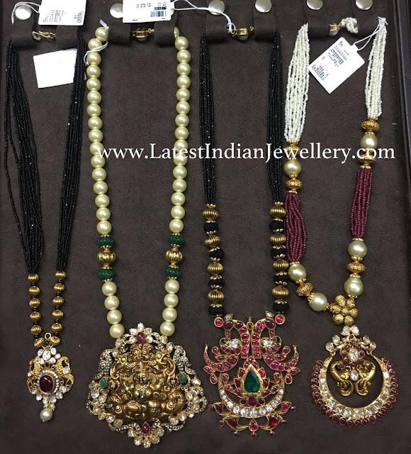Black Beads Pearls Mala