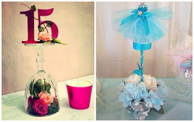 16 centros de mesa e ideas de decoraci n para fiesta de 15 - Centros de mesa con copas ...