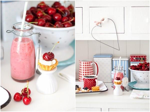 Cherry Milkshakes and little tiny cream tart