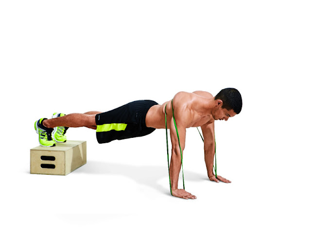 Best Chest Exercises of All Time - 30 Exercise - Band-Resisted Push Up w/ Feet Elevated
