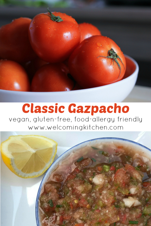 Classic Gazpacho - vegan, gluten-free, and food-allergy friendly - www.welcomingkitchen.com