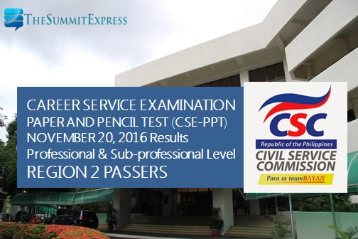 Region 2 List of Passers: November 2016 Civil Service Exam results (CSE-PPT)