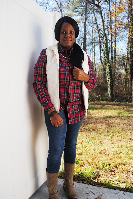An fall/winter outfit inspiration post featuring a plaid flannel shirt, J. Crew Factory vest, and boots.