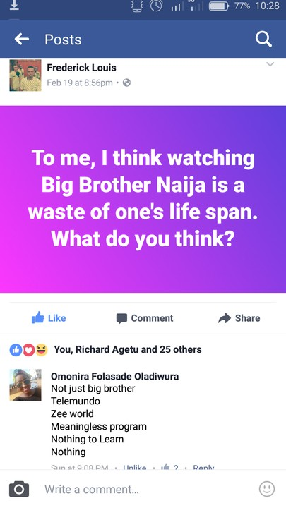 BBNaija a waste- commenter