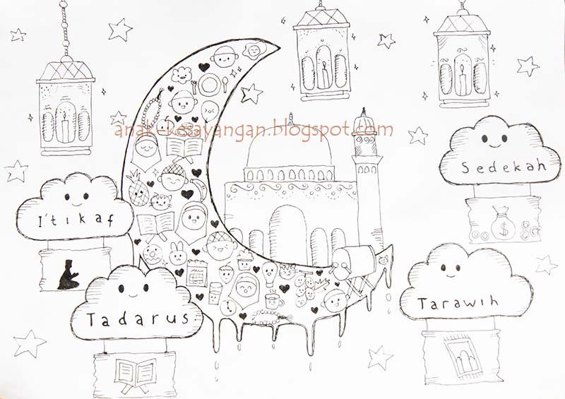 Berlatih Mewarnai Gambar Contoh Gambar Mewarnai Tema Ramadhan