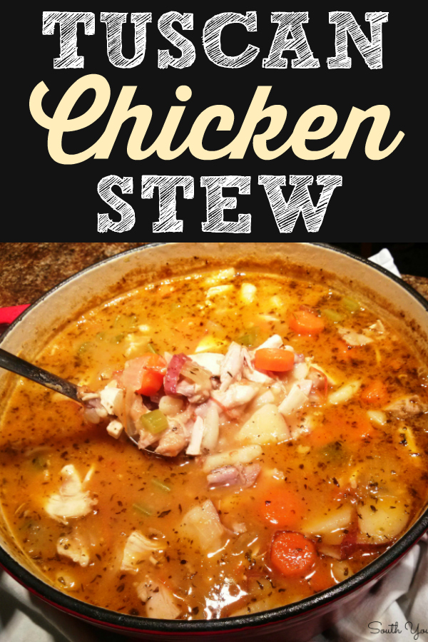 Tuscan Chicken Stew | A hearty country Italian chicken stew recipe with white beans and red potatoes.