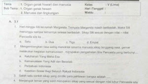 Soal UTS K13 Kelas 5 Tema 1 Subtema 1 dan 2