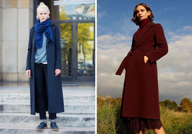 Девушки в монохромных образах с синим и бордовым пальто