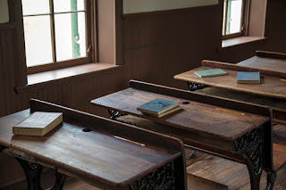 Interior view of an historic schoolhouse in Stonewall, Texas as part of the Gillespie County Historic School house tour.