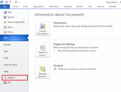 Mengubah satuan ukur word menggunakan menu file option
