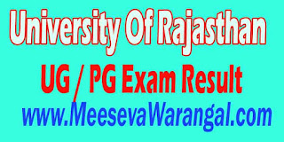 University Of Rajasthan UG / PG 2016 Exam Result