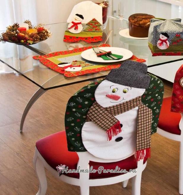 Чехол для стула со снеговиком (1)
