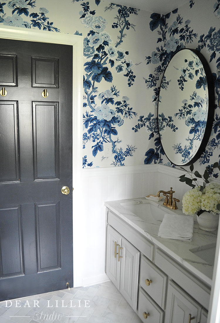The girls 39 bathroom reveal dear lillie studio for Wayfair bathroom wallpaper