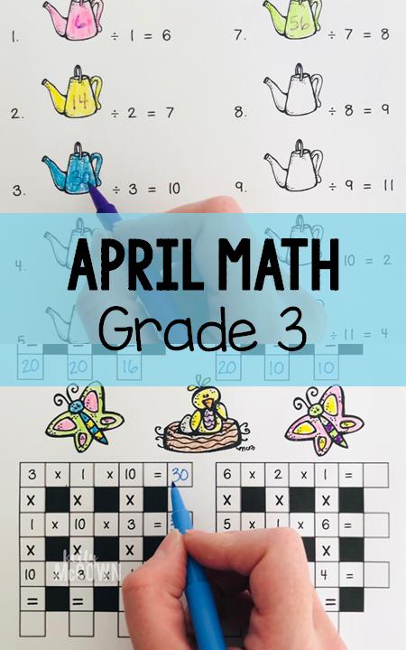 Kelly McCown: April NO PREP Math Packet - 3rd Grade