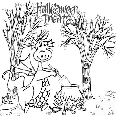 Fire Dragon monster online coloring pages free Halloween printable art pictures for kids to color in