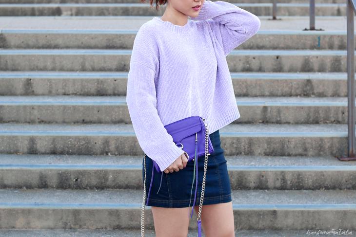 Lavender Sweater and Rebecca Minkoff Bag, Denim Skirt OOTD