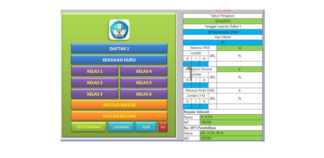 Aplikasi Keadaan Siswa dan Guru - Microsoft Excel