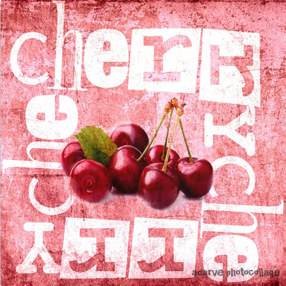 cherry addiction print by adarve photocollage