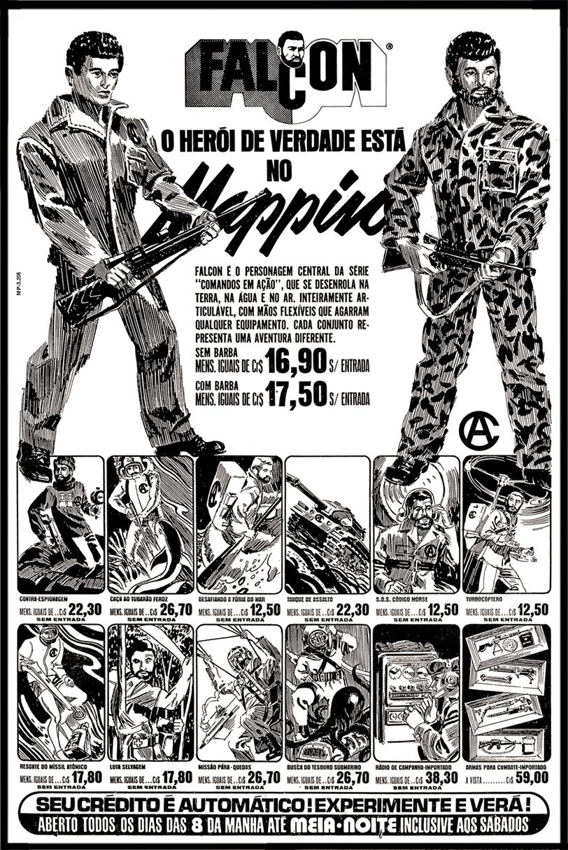 Propaganda antiga da Mappin promovendo os bonecos Falcon no final dos anos 70