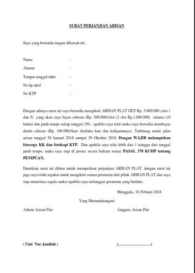 Contoh Surat Perjanjian Arisan Online Blog Berbagi
