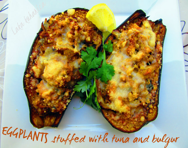 Eggplant stuffed with tuna and bulgur by Laka kuharica: classic stuffed aubergine dish made lighter and healthier.
