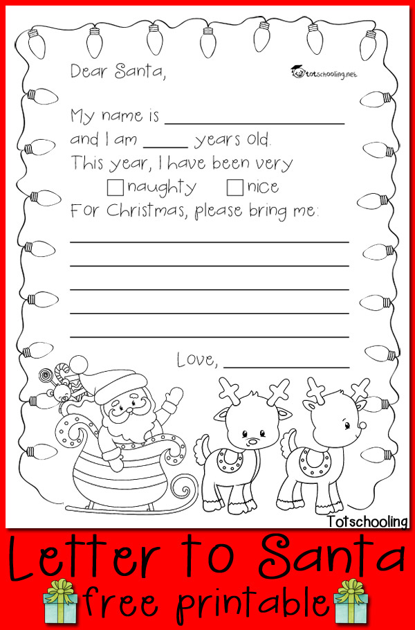 Free Letter To Santa Printable Totschooling Toddler Letter To Santa Coloring Page