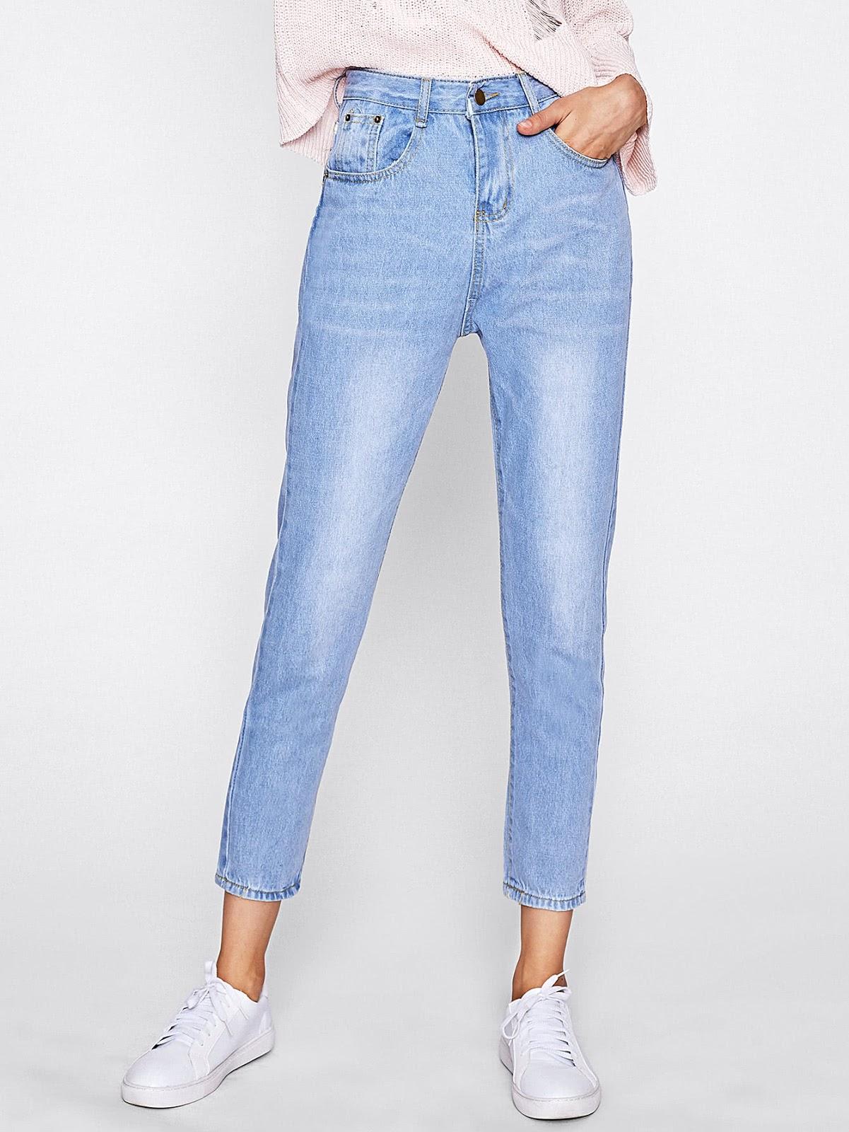 Bleach Wash Straight Jeans