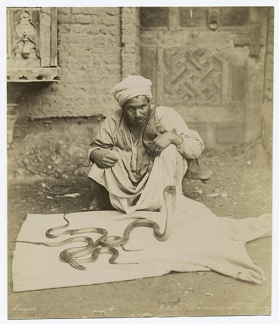 Charmeur des serpents. Photographer: Zangaki. 1860s-1920s. The New York Public Library. Photography Collection, Miriam and Ira D. Wallach Division of Art, Prints and Photographs.