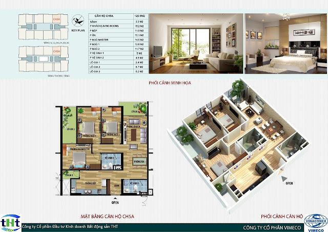 Mặt bằng căn 5A chung cư CT4 Vimeco