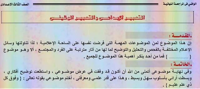 مراجعة ليلة امتحان اللغة العربية بالإجابات للصف الثالث الإعدادي ترم أول 2019 مراجعة الوافى