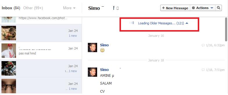 كيف تظهر جميع الرسائل في دردشة الفيسبوك دون إنتظار تحميلها