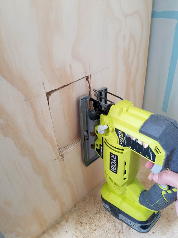 Ryobi jig saw outlet cut out for base cabinets