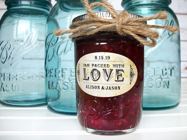 Vintage Oval Jam Packed with Love Canning Labels