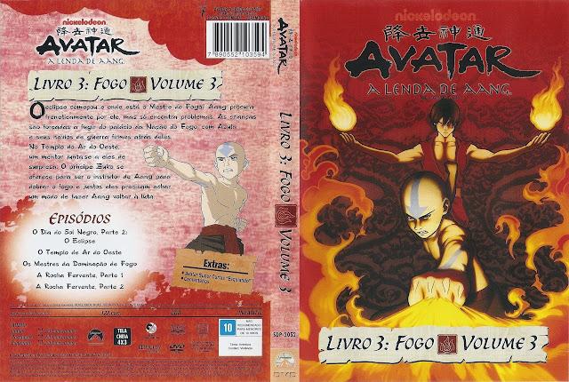 Capa DVD AVATAR A LENDA DE AANG LIVRO 3: FOGO VOLUME 3