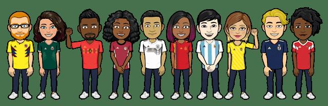 avatares do snapchat com camisetas de equipes de futebol