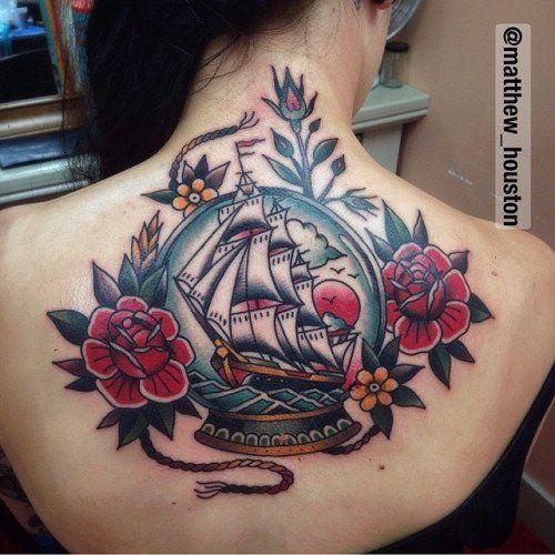 tatuaje de barco antiguo