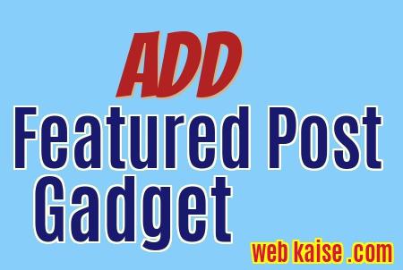 Add Featured Posts Widget