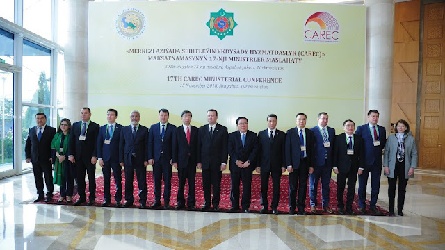 Image Attribute: CAREC Program ministers, senior officials, and partners at the 17th Ministerial Conference in Ashgabat, Turkmenistan. See below for a full caption. / Source: Asian Development Bank (ADB)