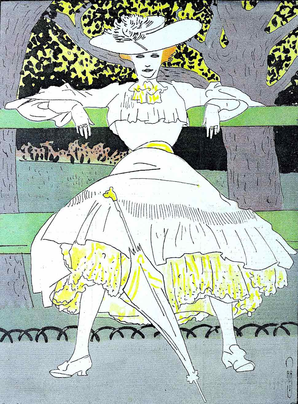 a bold liberated young woman in a 1904 French fashion illustration