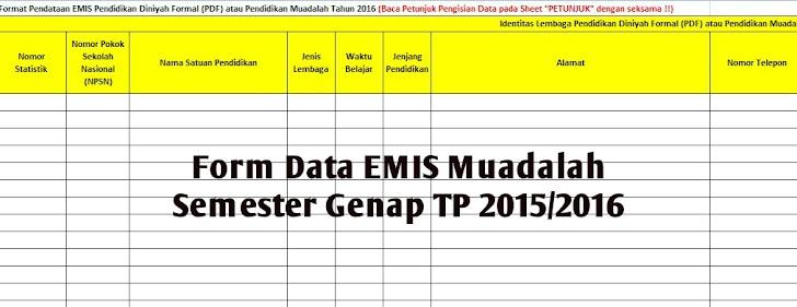 Form Data EMIS Muadalah Semester Genap TP 2015/2016