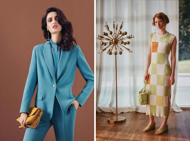 Сочетания желтого и голубого, зеленого и оранжевого в одежде