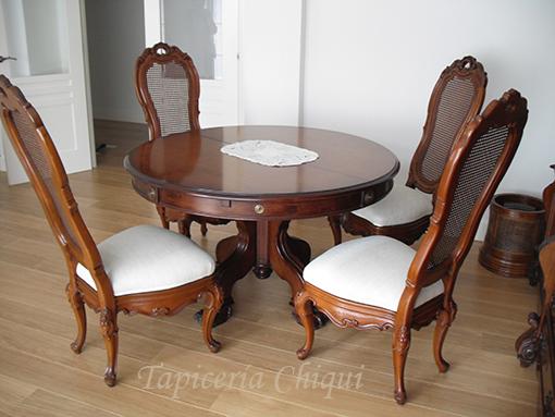 Tapicer a chiqui cuatro sillas de comedor for Comedor cuatro sillas