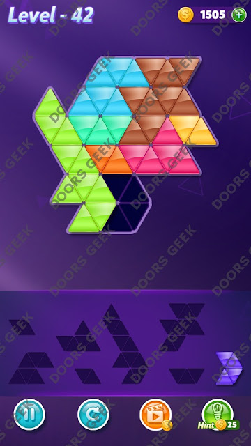 Block! Triangle Puzzle 8 Mania Level 42 Solution, Cheats, Walkthrough for Android, iPhone, iPad and iPod